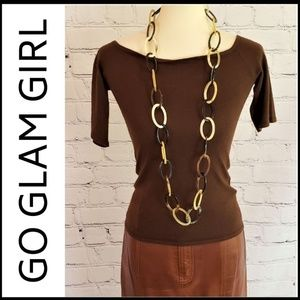"""TAN/TAUPE/BROWN Large Ring Chain Link Necklace 23"""""""